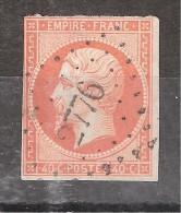Empire N° 16 A 40 C ORANGE VIF Obl Pc 2776 De SAINTES , Charente Maritime, Belle Frappe !!!!!!! - 1853-1860 Napoléon III