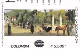 TARJETA DE COLOMBIA DE TELECOM DE $5500 MAESTROS DE LA PINTURA PARQUE SANTANDER (JUAN CARDENAS) CABALLO-HORSE - Colombia