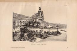 1889 - Gravure Sur Bois D´après Karl - Principauté De Monaco - Monte-Carlo - Le Casino Et Ses Jardins - FRANCO DE PORT - Stiche & Gravuren