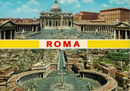 ROMA-CITTA' DEL VATICANO  BASILICA E PIAZZA S.PIETRO  PANORAMA DAL CUPOLONE    (VIAGGIATA) - Vatican