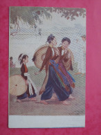 Cpa TONKIN Hanoi Les Midinettes GaI Hanoi Giovanie Operaie  IllustrateurS SM SALGE 1915 - Vietnam