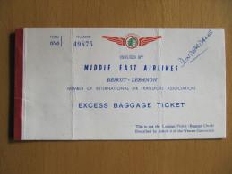 MEA MIDDLE EAST AIRLINES like ticket billet flugticket BAGHDAD - BEIRUT