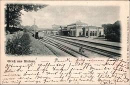 ! alte Ansichtskarte Gru� aus Kleinen, Bahnhof, Mecklenburg, 1898, Bad Kleinen, Verlag C.H.B. M�ller, Schwerin