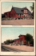 ! alte Ansichtskarte Bahnhof L�blow, Dampfmolkerei, Mecklenburg, 1912, Eisenbahnstrecke Ludwigslust - Schwerin, Bahnpost