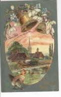 CPAS Joyeuses Pâques Grand Oeuf Avec église Et Cloches Fleuries, Carte Gaufrée 1905 - Pâques