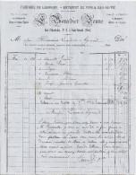 FACTURE-FABRIQUE DE LIQUEURS.ENTREPOT DE VINS & EAU DE VIE  -F. BOURDIER JEUNE  SAINT AMAND CHER 1884 - 1800 – 1899