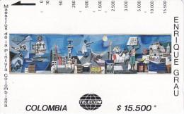 TARJETA DE COLOMBIA DE TELECOM DE $15500 MAESTROS DE LA PINTURA (ENRIQUE GRAU) BOCETO MURAL - Colombia