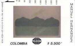 TARJETA DE COLOMBIA DE TELECOM DE $5500 MAESTROS DE LA PINTURA (MANUEL HERNANDEZ) HORIZONTAL SOSTENIDO - Colombia
