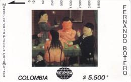 TARJETA DE COLOMBIA DE TELECOM DE $5500 MAESTROS DE LA PINTURA (FERNANDO BOTERO) LOS JUGADORES DE CARTAS - Colombia