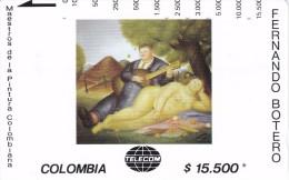 TARJETA DE COLOMBIA DE TELECOM DE $15500 MAESTROS DE LA PINTURA (FERNANDO BOTERO) CONCIERTO CAMPESTRE - Colombia