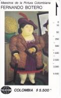 TARJETA DE COLOMBIA DE TELECOM DE $5500 MAESTROS DE LA PINTURA (FERNANDO BOTERO) MUJER CON ABRIGO DE PIEL - Colombia
