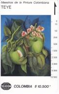 TARJETA DE COLOMBIA DE TELECOM DE $10500 MAESTROS DE LA PINTURA (TEYE) MANZANAS Y AZULES - Colombia