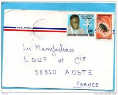 MARCOPHILIE-lettre-congo-pour Françe-1983- -2 Stamp N°366-Eboué+273 Insect-chelorrhina - Congo - Brazzaville
