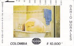 TARJETA DE COLOMBIA DE TELECOM DE $10500 MAESTROS DE LA PINTURA (DARIO MORALES) MUJER BAÑANDOSE CON TOALLA AZUL - Colombia