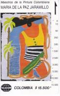 TARJETA DE COLOMBIA DE TELECOM DE $15500 MAESTROS DE LA PINTURA (MARIA DE LA PAZ JARAMILLO) MUJER CARIBE - Colombia