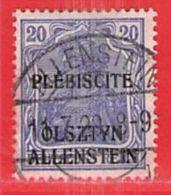 MiNr.5 O Deutschland Deutsche Abstimmungsgebiete Allenstein - Allemagne