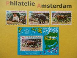 Indonesia 1977, FAUNA PROTECTED ANIMALS / MONKEY ELEPHANT TIGER : Mi 888-90, + Bl. 25, ** - Postzegels