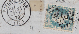 FRAGMENT LETTRE  1870 RIVES-SUR-FURE  ISERE. GC 3152 N°29 / 6241 - Postmark Collection (Covers)