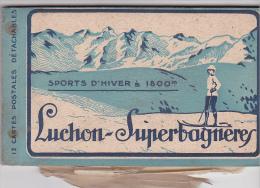 25147 Carnet Luchon Superbagneres -sports D'hivers 1800 M -11 Cpa Sur 12 -ski Montagne Neige Luge Patins Glace Sault