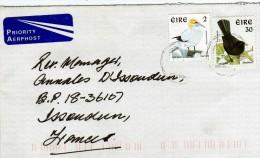 """Irlande: 2001 Lettre  Voyagé  Timbres Oiseaux Birds """"merle Et FOU"""" - 1949-... Repubblica D'Irlanda"""