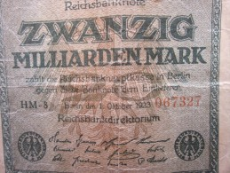 OCTOBER 1923 REICHBANKNOTE ZWANZIG MILLIARDEN MARK REPUBLIQUE DE WEIMAR BILLET DE BANK BANQUE  DEVALUATION ALLEMANDE - [ 3] 1918-1933: Weimarrepubliek