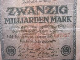 OCTOBER 1923 REICHBANKNOTE ZWANZIG MILLIARDEN MARK REPUBLIQUE DE WEIMAR BILLET DE BANK BANQUE  DEVALUATION ALLEMANDE - [ 3] 1918-1933 : Repubblica  Di Weimar