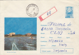 31062- WATER SKIING ON SIUTGHIOL LAKE, REGISTERED COVER STATIONERY, 1971, ROMANIA