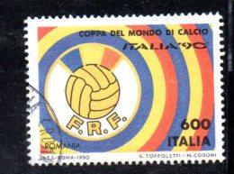 Y539 - ITALIA - 1990 - Usato - Coppa Del Mondo Di Calcio - Romania - 6. 1946-.. Repubblica