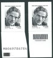 Italia 2015; Pasolini, Anniversario Della Morte; Francobollo A Barre + Francobollo Con Alfanumerico. Nuovi - 6. 1946-.. Repubblica