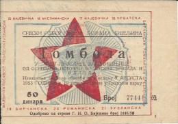 Lottery / Lutrija LU000006 - Yugoslavia Tombola Savez Boraca Bijeljina 1953 - Lottery Tickets