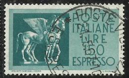 ITALIA REPUBBLICA ITALY REPUBLIC 1958 ESPRESSI ESPRESSO SPECIAL DELIVERY CAVALLI ALATI LIRE 150 USATO USED OBLITERE´ - Eilpost/Rohrpost