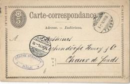 PK 6 CARTE DOUBLE  Basel - La Chaux-de-Fonds           1874 - Ganzsachen