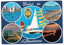 G3375 Saluti Da Riccione (Rimini) - Panorama Vedute Multipla - Stemma Cittadino - Barche Boats Bateaux / Viaggiata 1978 - Italie