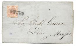 Deux Siciles - YT3 Sur Lettre De Naples (NAPOLI) Pour MAGLIE. 1858 - Sicily