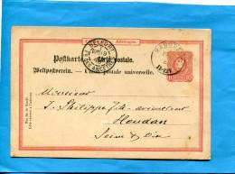 MARCOPHILIE-ALLEMAGNE-carte Entier Postal Cad HASBEIN 1888 10 Rouge - A Voyagé-pour Françe - Allemagne
