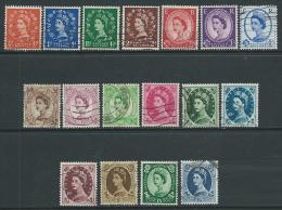 1952-54 GRAN BRETAGNA USATO EFFIGIE ELISABETTA II 17 VALORI - U07 - 1952-.... (Elizabeth II)