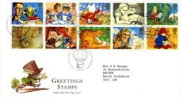 GB 1994 GREETINGS MESSAGES FDC USED SG 1800-09 MI 1493-502 SC 1538-47A IV 1738-1747 - 1952-.... (Elizabeth II)