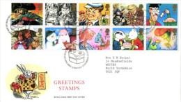 GB 1993 GREETINGS RUPERT FDC SG 1644-53 MI 1431-40 SC 1479-88A IV 1650-1659 - 1952-.... (Elizabeth II)