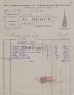 63 1132 CLERMONT FERRAND PUY DE DOME 1928 Plomberie Couverture G. DERUE Place Royale à Mr TEILLARD De LE CREST - France