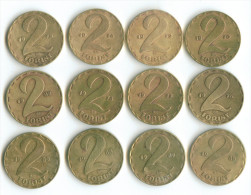 2 FORINT 12 PIECES:1970:1972;1974;1975;1976;1977;1978;1983;1985;1987;1988;1989 - Hungary