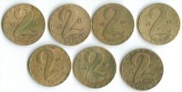 2 FORINT 7 PIECES:1970:1976;1977;1978;1983;1985;1989 - Ungarn