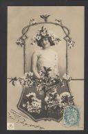 DF / FANTAISIE / JEUNE FEMME COURONNÉE DE FLEURS DE POMMIER / CIRCULÉE EN 1904 - Femmes