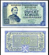 Czechoslovakia 20 Koron 1945  Pick 61s UNC - Tchécoslovaquie