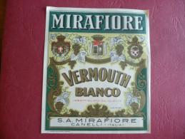 Etichetta MIRAFIORE Vermouth Bianco Liquore Canelli - Alcolici