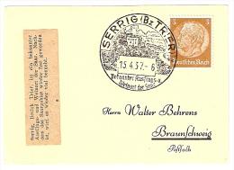 Briefstück 15.4.37 SERRIG (Bz TRIER) Bekannter Ausflugs- U. Weinort Der Saar Nach Braunschweig 3 Pf. Hindenburg - Allemagne