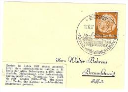 Briefstück 17.6.37 ZERBST Kleinod Mittelalterl. Städtebaues Nach Braunschweig 3 Pf. Hindenburg - Allemagne