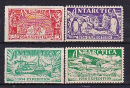 1954 Antarctica - Australian Expedition 4v., 2nd Set Exposition Poster Stamps, Map, Penguins, Ship, Plane MLH As Scan - Other