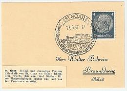 Briefstück 17.6.37 ST. GOAR Sankt Goar M. Schloß Rheinfels, D. Größten Burg A. Rhein Nach Braunschweig 4 Pf. Hindenburg - Allemagne