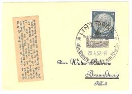 Briefstück 25.4.37 LINZ (RHEIN) Die Bunte Stadt Am Rhein Nach Braunschweig 4 Pf. Hindenburg - Allemagne