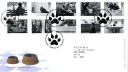 GROSBRITANNIEN GRANDE BRETAGNE GB 2001 CATS-DOGS FDC SG 2187-96 MI 1914-23 SC 1953-62 YV 2226-35 - 1952-.... (Elizabeth II)